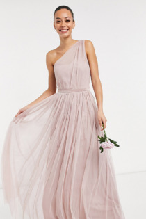 Anaya With Love Tall – Brautjungfern – Maxikleid aus Tüll mit One-Shoulder-Träger in Rosa
