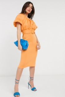 ASOS DESIGN – Figurbetontes Bubble-Midikleid mit One-Shoulder-Träger in Aprikot-Orange