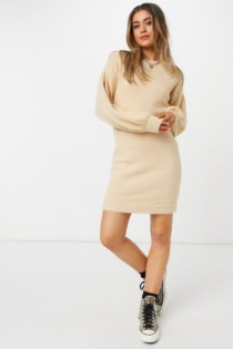 ASOS DESIGN – Flauschiges Minikleid in Taupe-Neutral