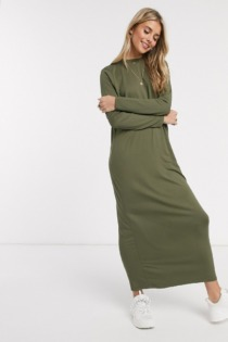 ASOS DESIGN – Langärmliges Maxi-T-Shirt-Kleid in Khaki-Grün
