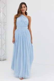 ASOS DESIGN – Tüll-Maxikleid mit One-Shoulder-Träger in Blau