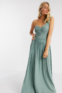 ASOS DESIGN Tall – Hochwertiges One-Shoulder-Maxikleid mit Plissee-Einsatz in Spearmint-Grün