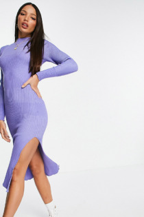 ASOS DESIGN Tall – Midikleid mit Kontrastripp in Blau
