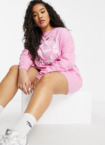 ASOS Weekend Collective Curve – Langärmliges Oversize-T-Shirt-Kleid in Rosa mit 'Weekend Collective'-Logo