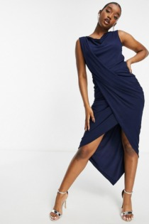 AX Paris – Midikleid mit Wickeldesign in Navy-Marineblau