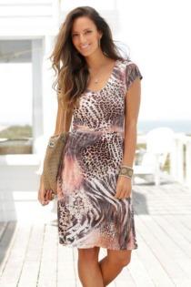 Beachtime Jerseykleid, mit Animalprint