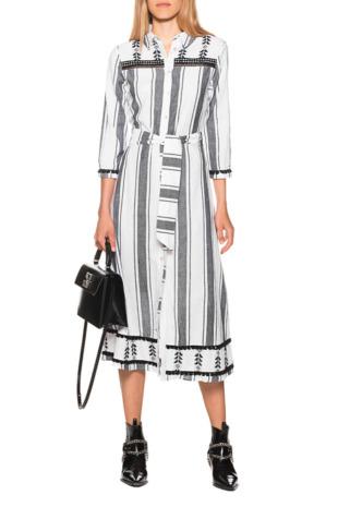 Boho Long Dress Black White