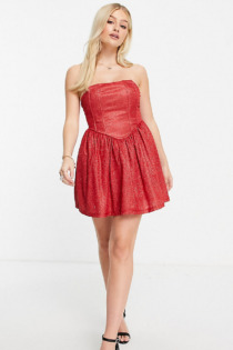 Collective The Label Petite – Exklusives, glitzerndes Corsagen-Minikleid in Rot