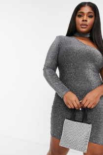 Fashionkilla Plus – Glitzerndes Minikleid mit One-Shoulder-Träger in Silber
