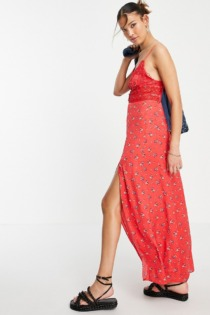Free People – Out & About – Maxi-Trägerkleid mit Blümchenmuster-Rot