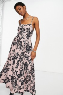 Free People – The Perfect Sundress – Bedrucktes Midikleid in Sand-Neutral