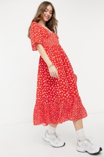 French Connection – Fayola – Fließendes Midikleid in Rot