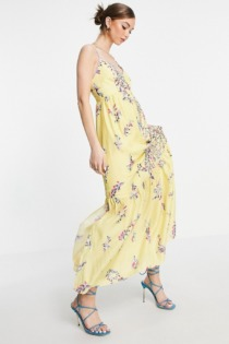 French Connection – Flores – Ärmelloses Maxikleid in Gelb