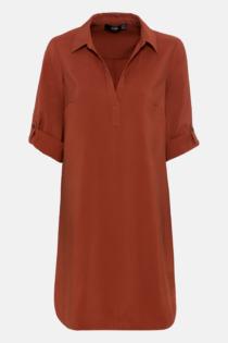 Hallhuber Blusenkleid mit Krempelärmeln für Damen Gr. 44 in kupfer