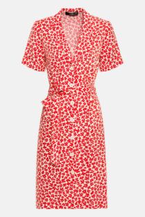 Hallhuber Blusenkleid mit Reverskragen für Damen Gr. 38 in rot