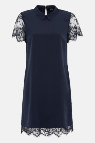 Hallhuber Blusenkleid mit Spitze für Damen Gr. 36 in indigo