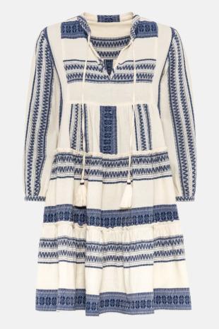 Hallhuber Bohemian-Kleid aus Baumwolljacquard für Damen Gr. 36 in blau