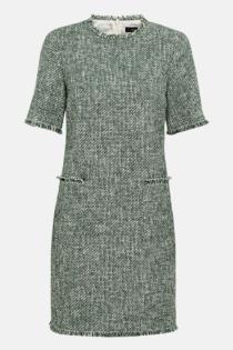 Hallhuber Bouclé-Kleid mit Lurex für Damen Gr. 38 in dunkelgrün