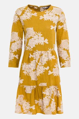Hallhuber Hängerkleid mit Blumenstickerei für Damen Gr. 42 in safran
