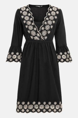 Hallhuber Hängerkleid mit Kontraststickerei für Damen Gr. 36 in schwarz