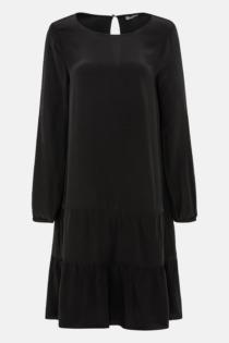 Hallhuber Hängerkleid mit Stufenvolants für Damen Gr. 40 in schwarz
