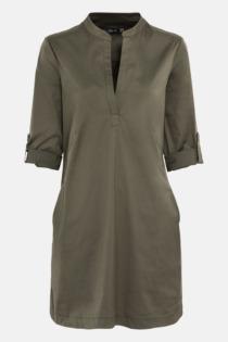 Hallhuber Hemdblusenkleid mit Krempelärmeln für Damen Gr. 44 in fango
