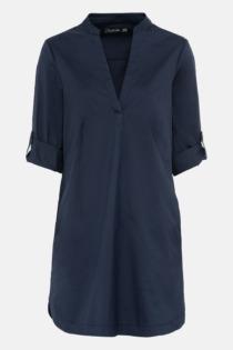 Hallhuber Hemdblusenkleid mit Krempelärmeln für Damen Gr. 44 in indigo