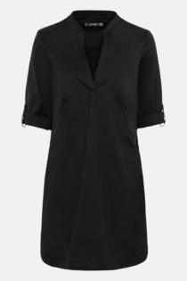 Hallhuber Hemdblusenkleid mit Krempelärmeln für Damen Gr. 34 in schwarz
