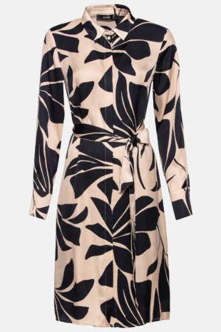 Hallhuber Hemdblusenkleid mit Maxi-Blumenprint für Damen Gr. 42 in schwarz