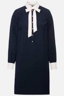 Hallhuber Hemdblusenkleid mit Perlenknöpfen für Damen Gr. 36 in dunkelblau