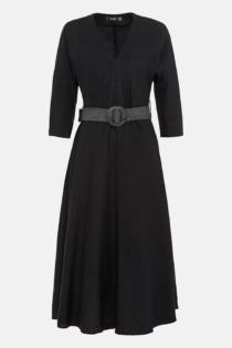 Hallhuber Leinenkleid mit Bastgürtel für Damen Gr. 34 in schwarz