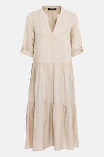 Hallhuber Leinenkleid mit Stufenvolants für Damen Gr. 36 in hellbeige