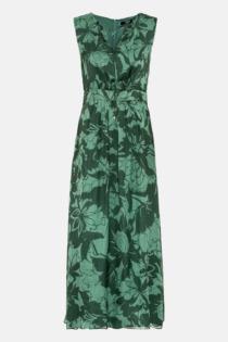 Hallhuber Midikleid aus Seidenchiffon für Damen Gr. 40 in dunkelgrün