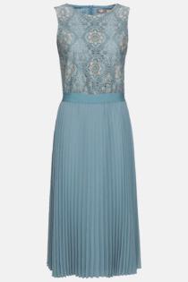 Hallhuber Midikleid aus Spitze & Plissee für Damen Gr. 36 in eisblau
