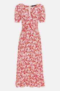 Hallhuber Midikleid mit Blumenprint für Damen Gr. 44 in rot