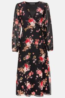 Hallhuber Wickelkleid mit Rosendruck für Damen Gr. 34 in multicolor