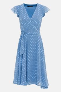 Hallhuber Wickelkleid mit Tupfenprint für Damen Gr. 36 in blau