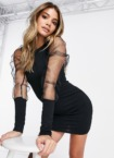 I Saw It First – Bodycon-Kleid mit Netzärmeln in Schwarz