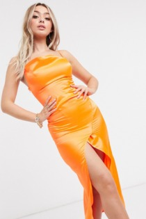 I Saw It First – Satin-Maxikleid aus Satin in Orange