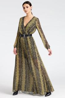 Kleid Langer Mit Taille Gürtel