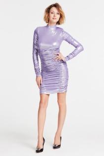 Kleid Mit Raffung Hoher Kragen