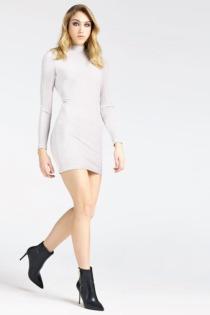 Kleid Rollkragen Streifenmuster