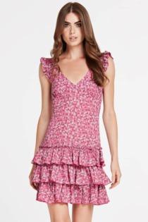 Kleid Volants Blumenprint