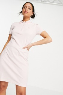 Lacoste – Klassiches Polokleid in Rosa