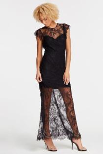 Langes Kleid Details Spitze
