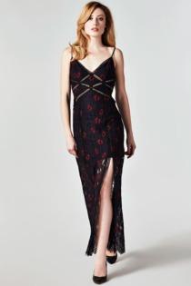 Langes Kleid Spitze Blumen