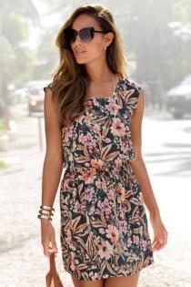 LASCANA Sommerkleid, aus gewebter Viskose mit Blumenprint