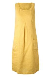 Leinenkleid mit aufgesetzten Ballontaschen