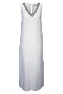 Leinenkleid mit Schmuckdetail