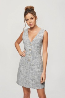 Miss Selfridge – Bouclé-Latzkleid in Blau